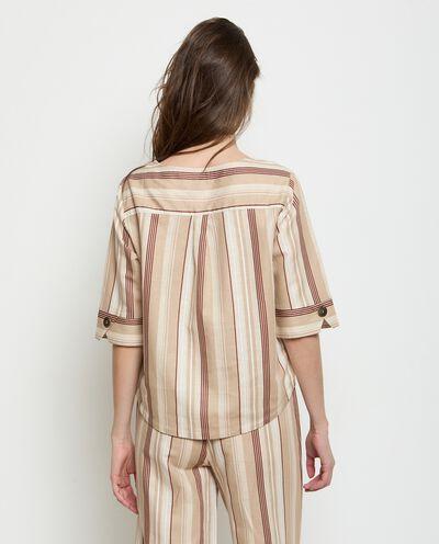 Top a righe in misto lino donna