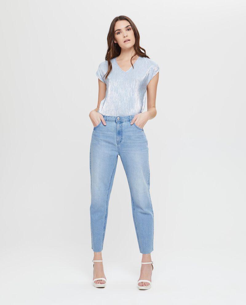 Jeans a vita alta orlo sfrangiato