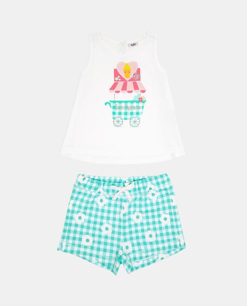 Set t-shirt glitter shorts floreale quadri