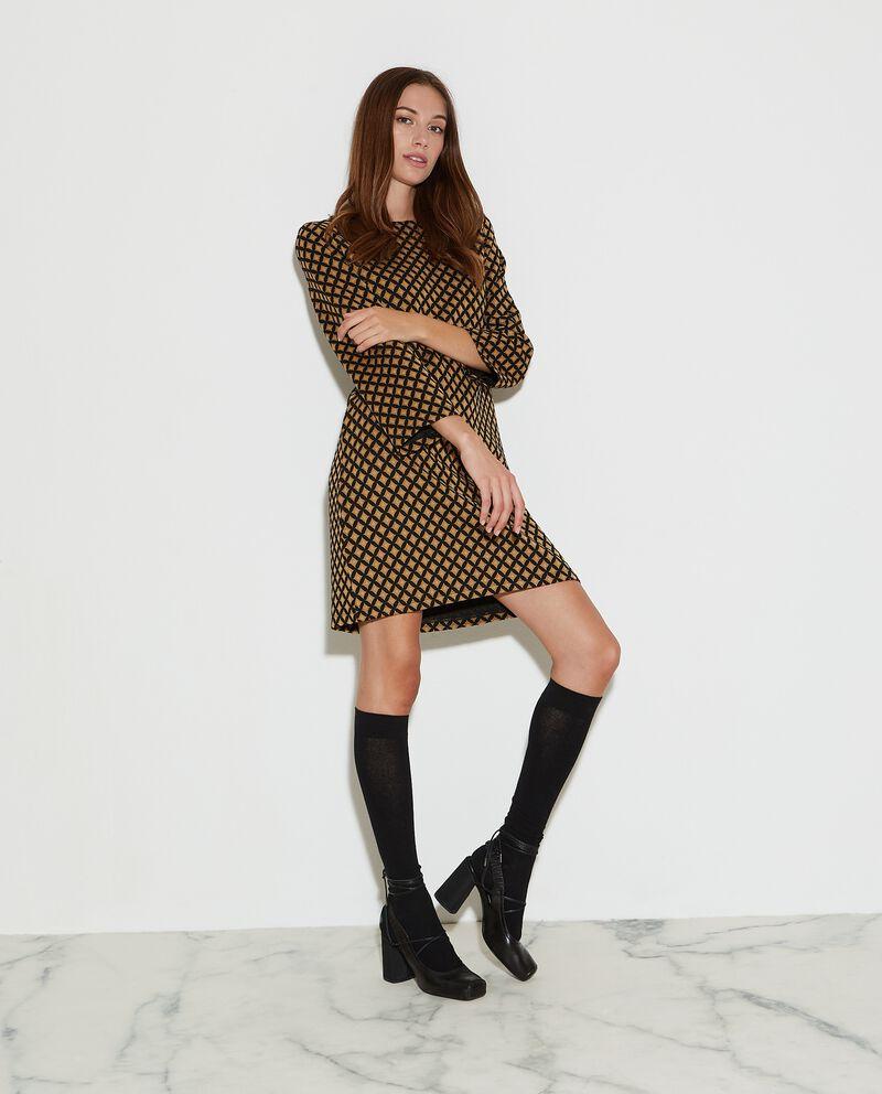 Vestito corto con fantasia jacquard a quadri donna