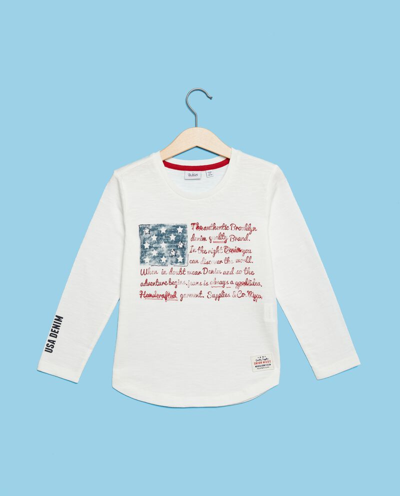 Maglia puro cotone con stampa bandiera bambino