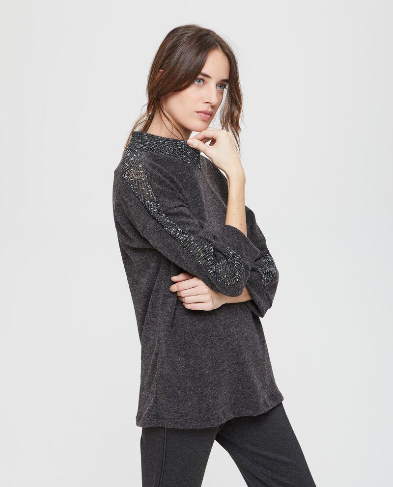 Pullover stretch con lurex e paillettes