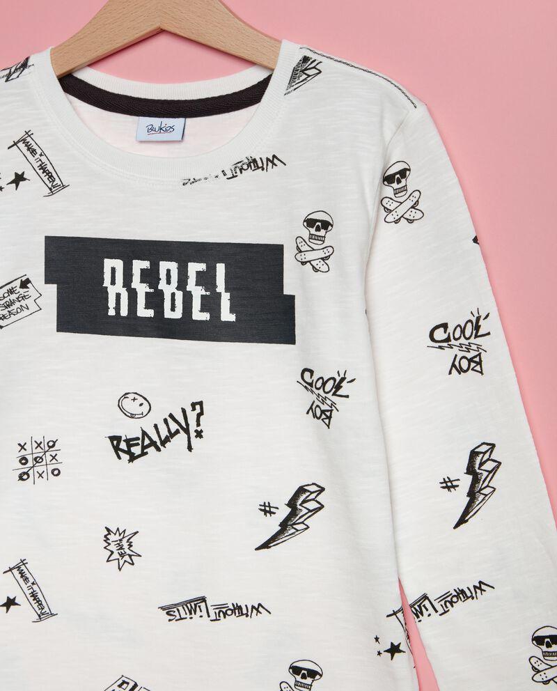 T-shirt in puro cotone con lettering bambino