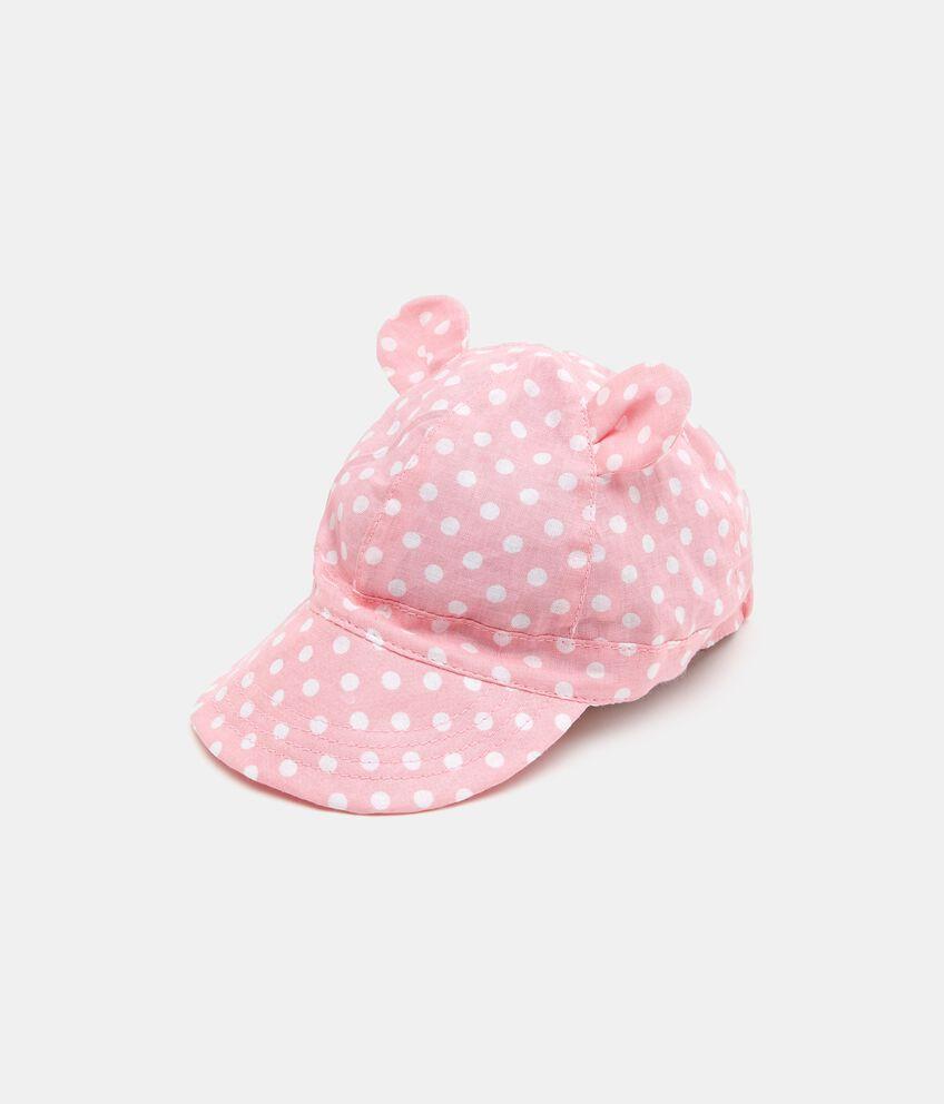 Cappellino in puro cotone con motivo a pois neonata