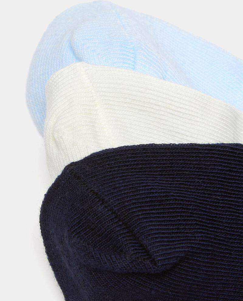 Set con tre paia di calzini di cotone elasticato neonato