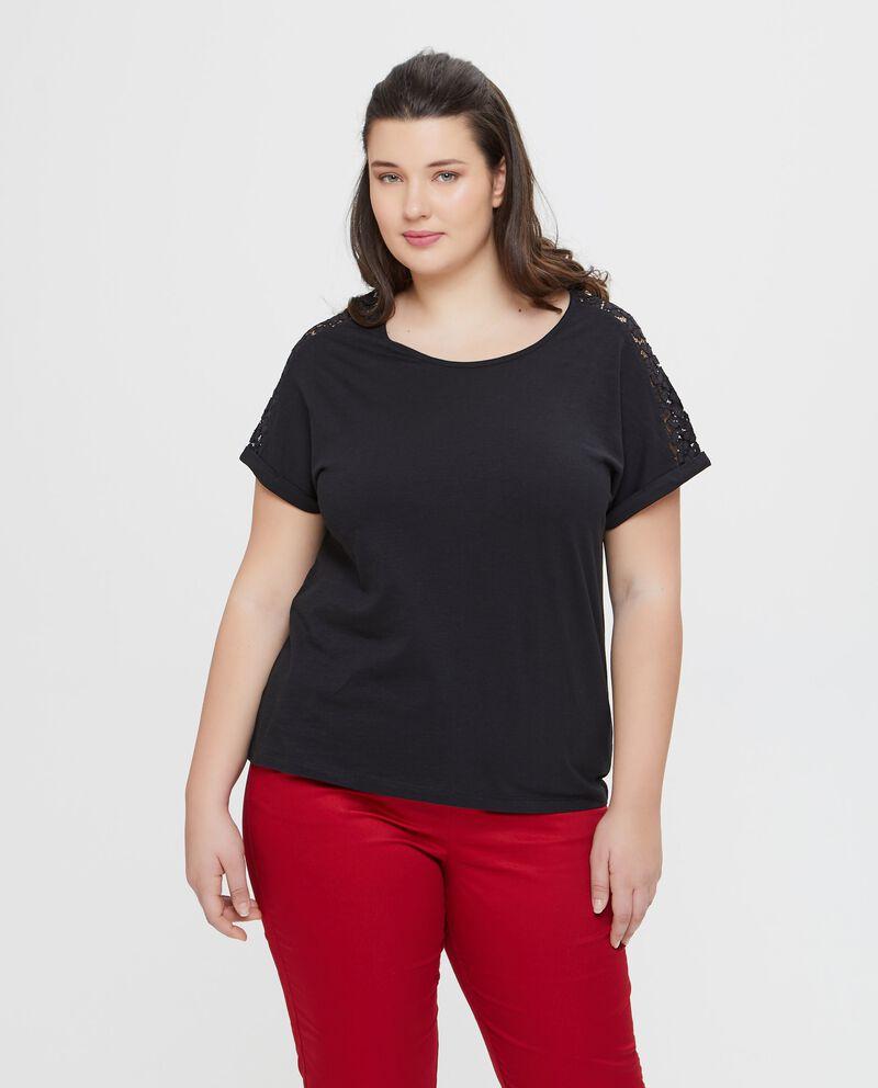 T-shirt in puro cotone nera con inserto n pizzo Curvy