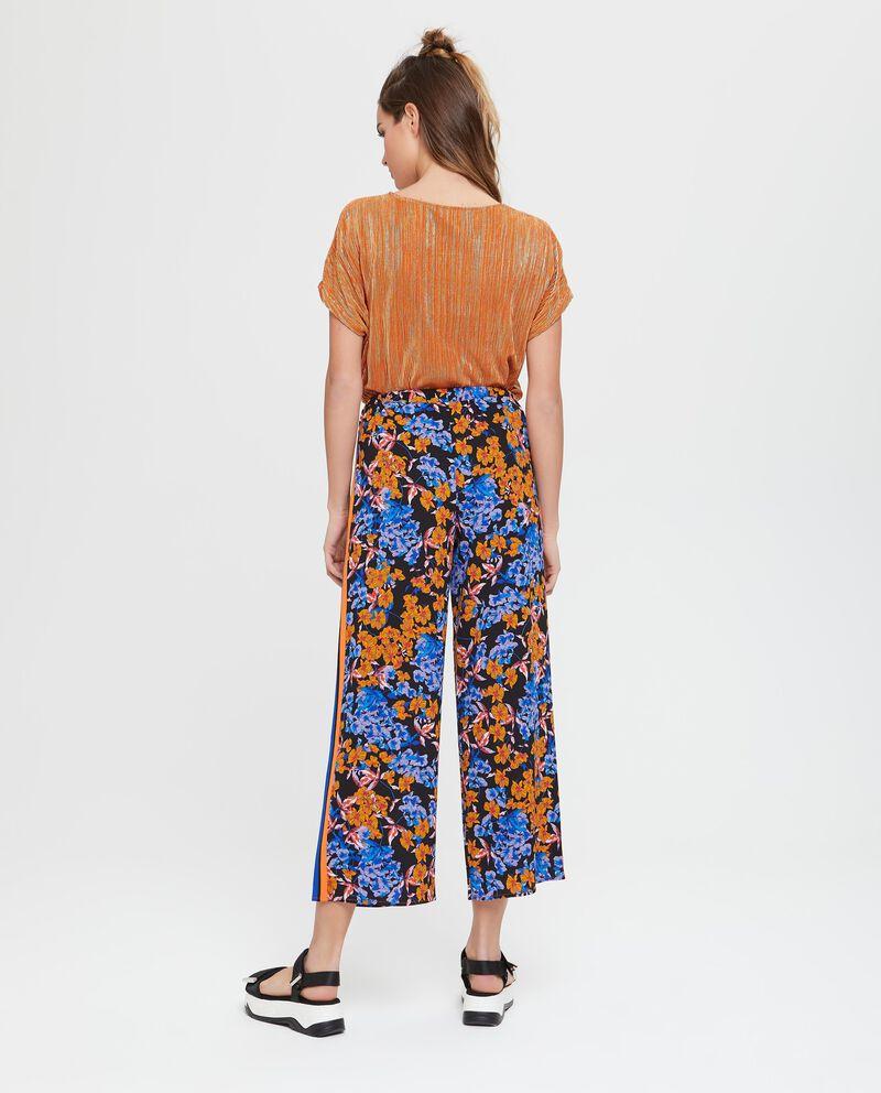 Pantaloni palazzo crop in fantasia floreale
