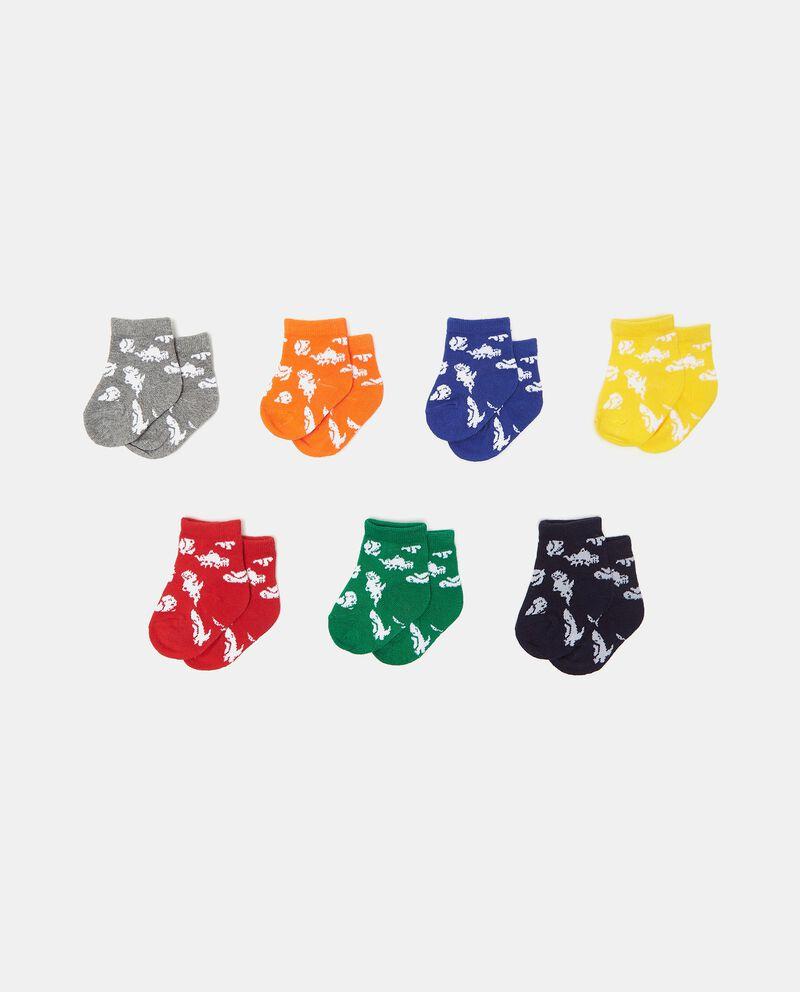 Set con 7 paia di calzini in cotone organico stampati neonato cover