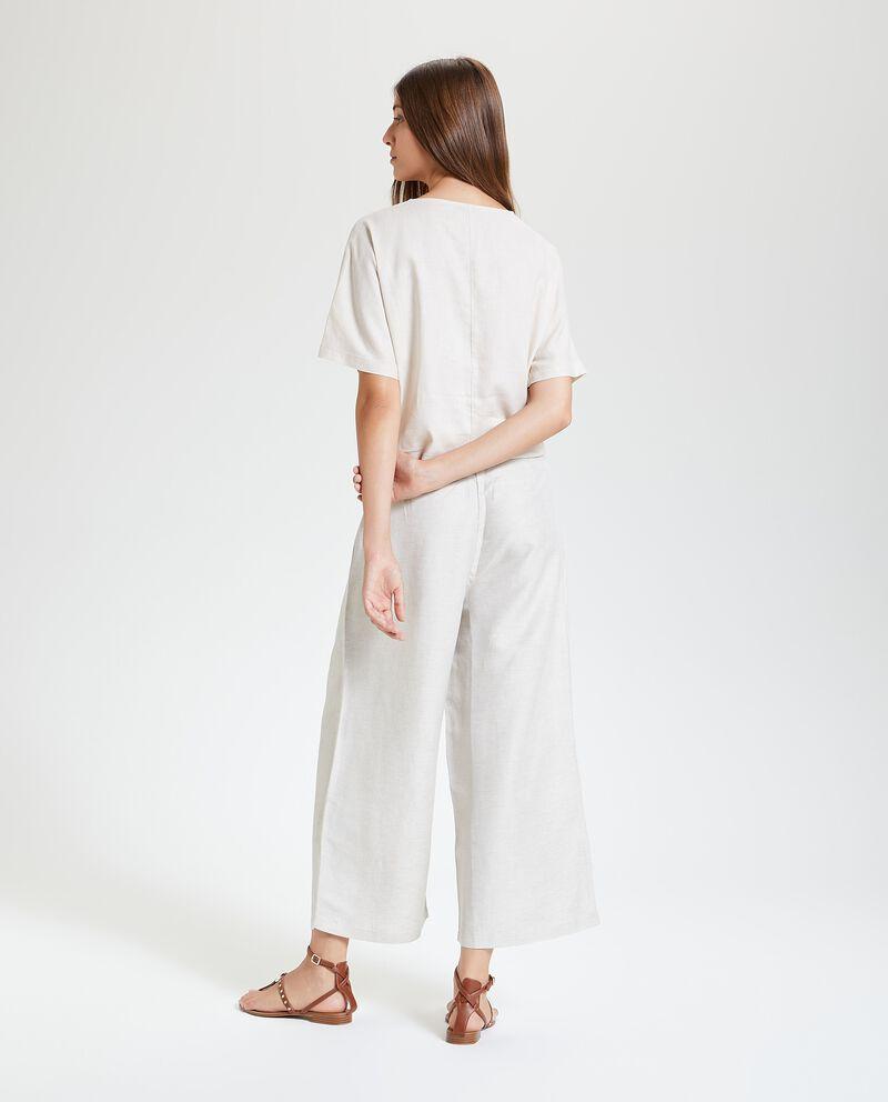 Pantaloni a palazzo in misto lino donna