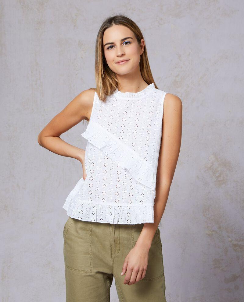Camicia smanicata in puro cotone donna