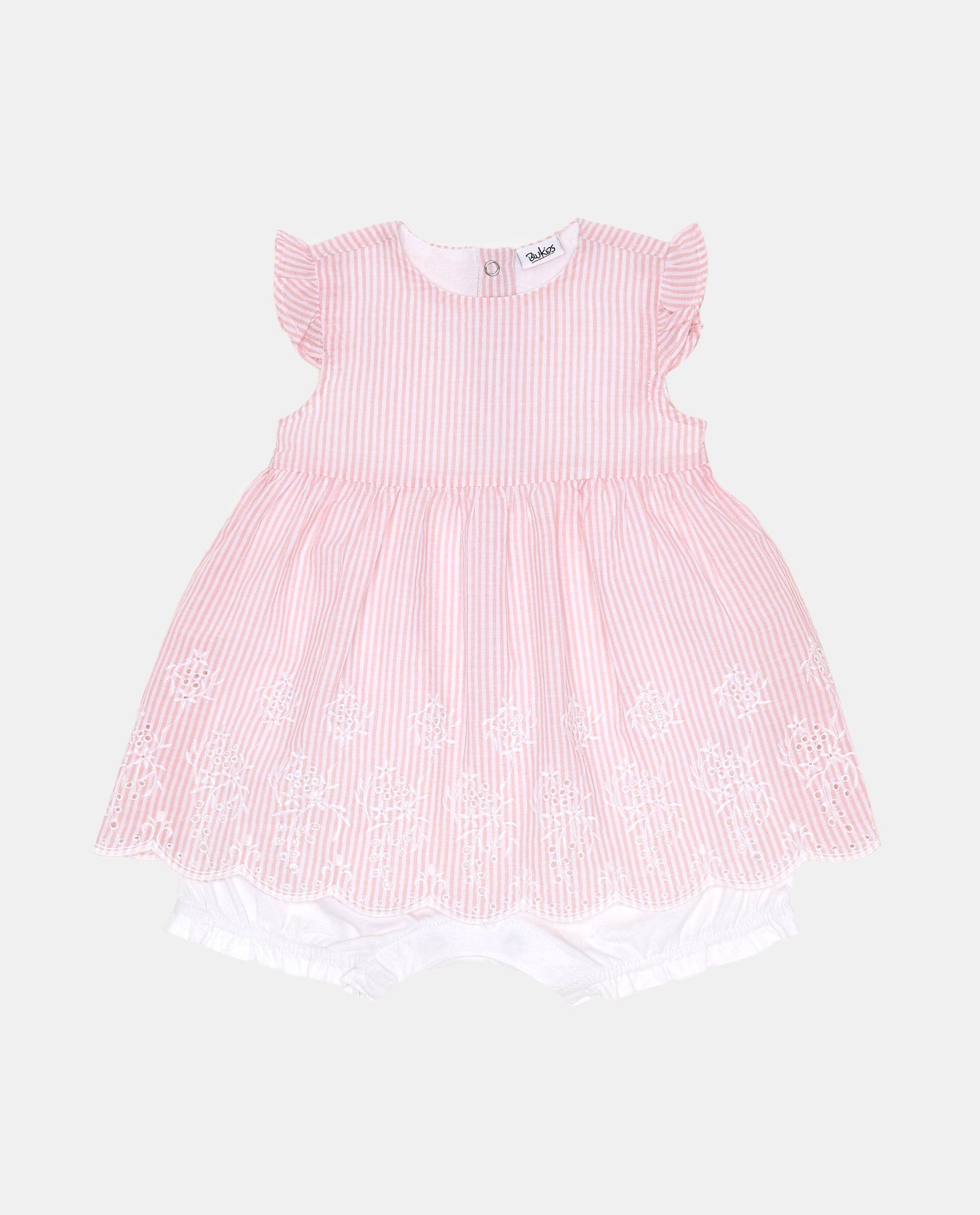 Vestitino a righe rosa con ricami