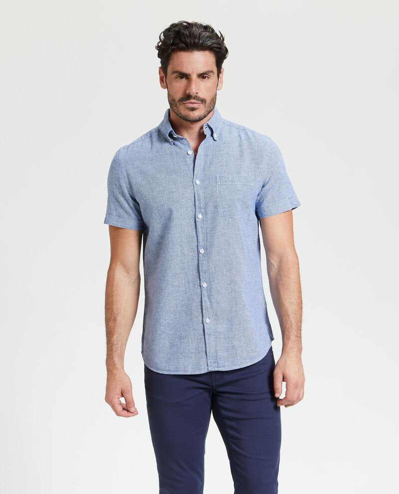 Camicia a quadri in lino misto cotone uomo