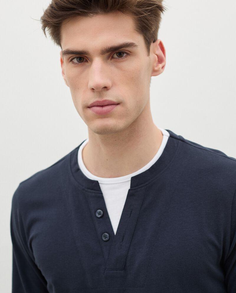 Maglia del pigiama in puro cotone con scollo a V uomo single tile 2