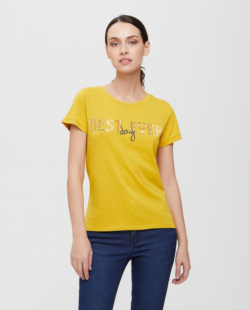 T-shirt in puro cotone gialla con lettering donna