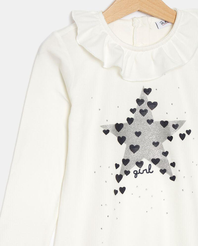 T-shirt in jersey con ruche sul colletto bambina single tile 1