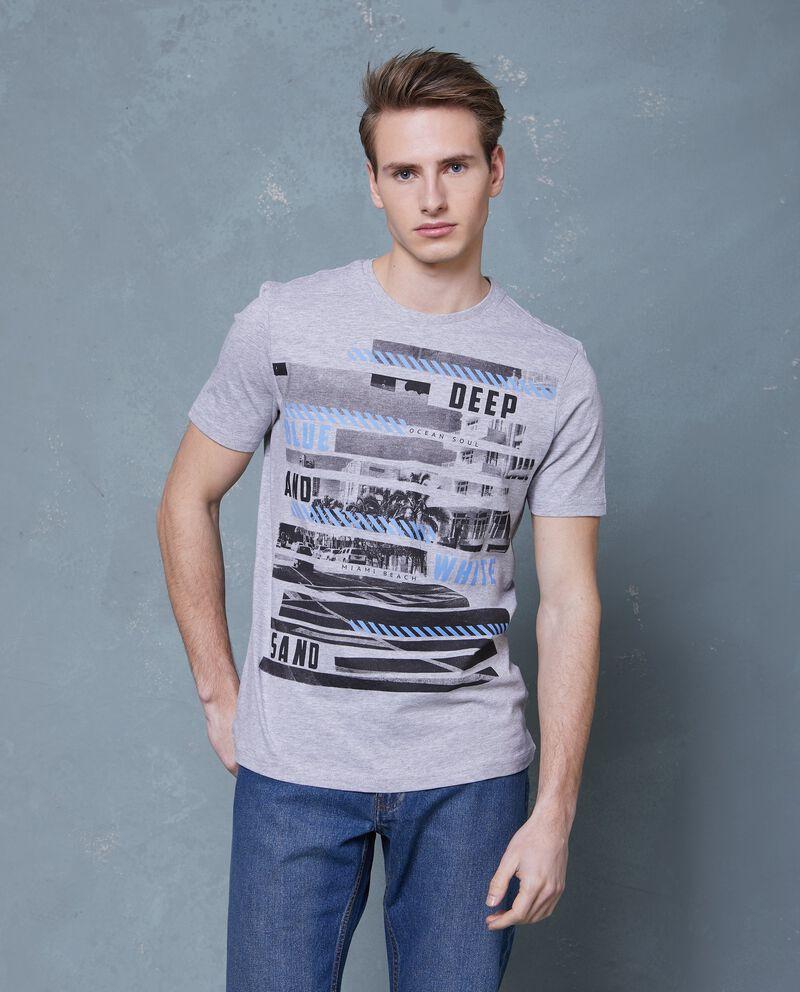 T-shirt grigia in cotone con stampa