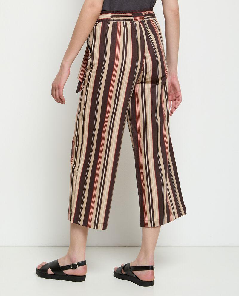 Pantaloni ampio in misto lino rigato donna single tile 1