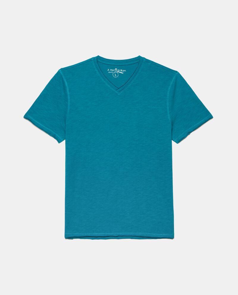 T-shirt con scollo a V in puro cotone uomo