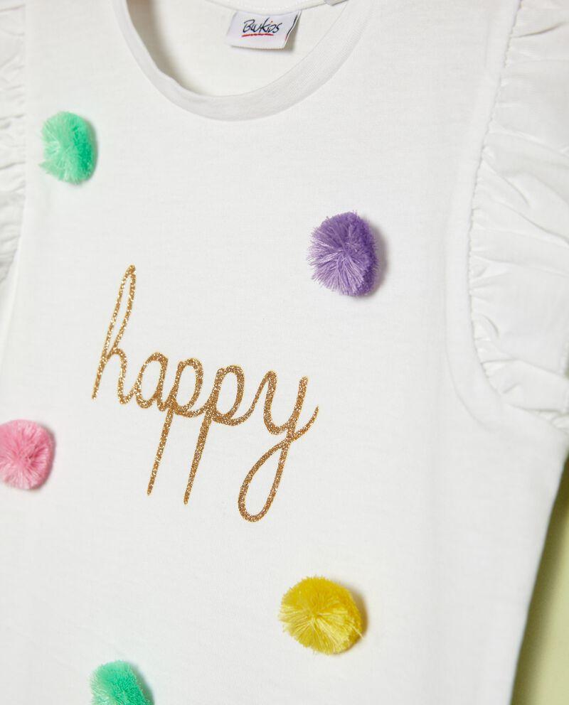 T-shirt in puro cotone con mini pon pon bambina