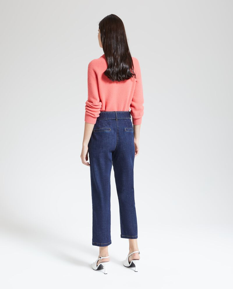 Jeans cropped donna con cintura in tessuto