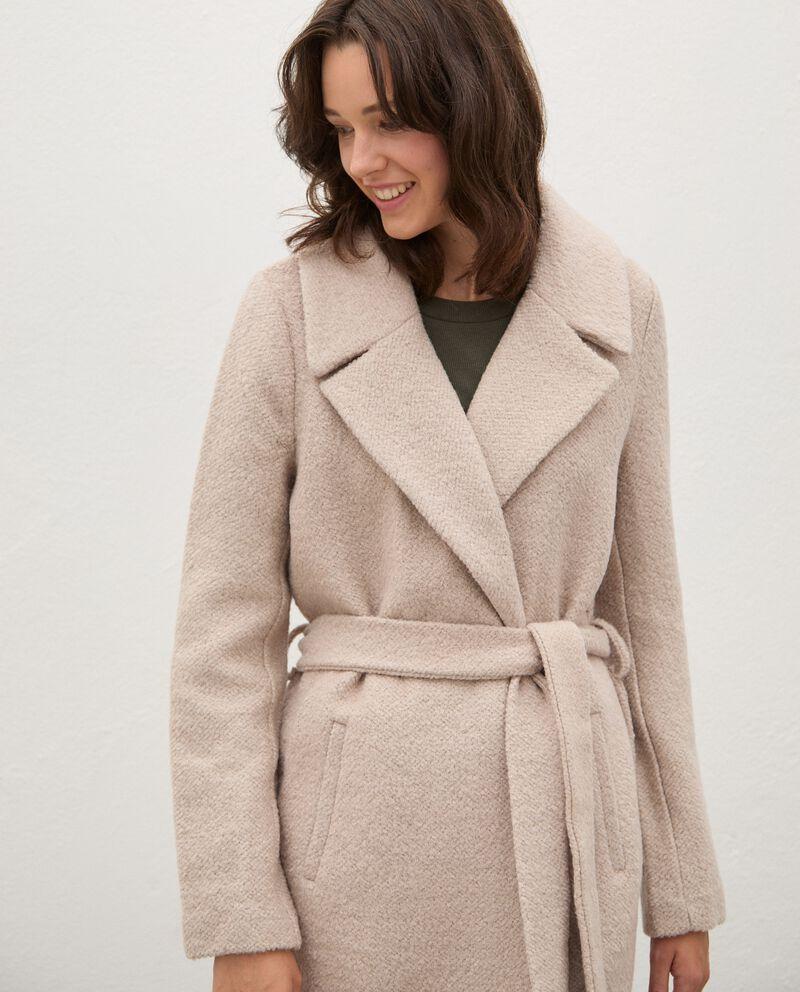 Cappotto in misto lana con cintura donna single tile 2
