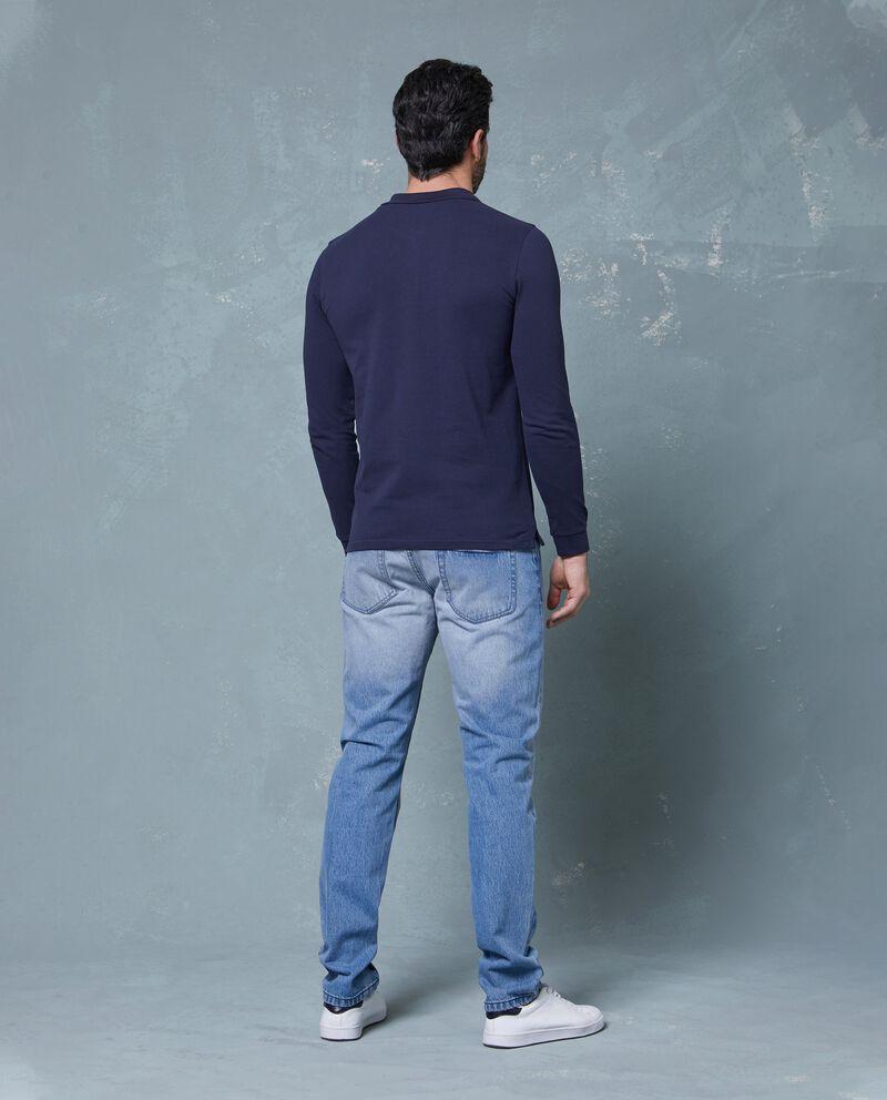 Polo in puro cotone blu a maniche lunghe uomo