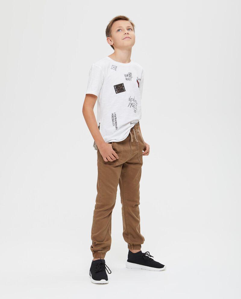 Pantaloni tinta unita con vita elasticata