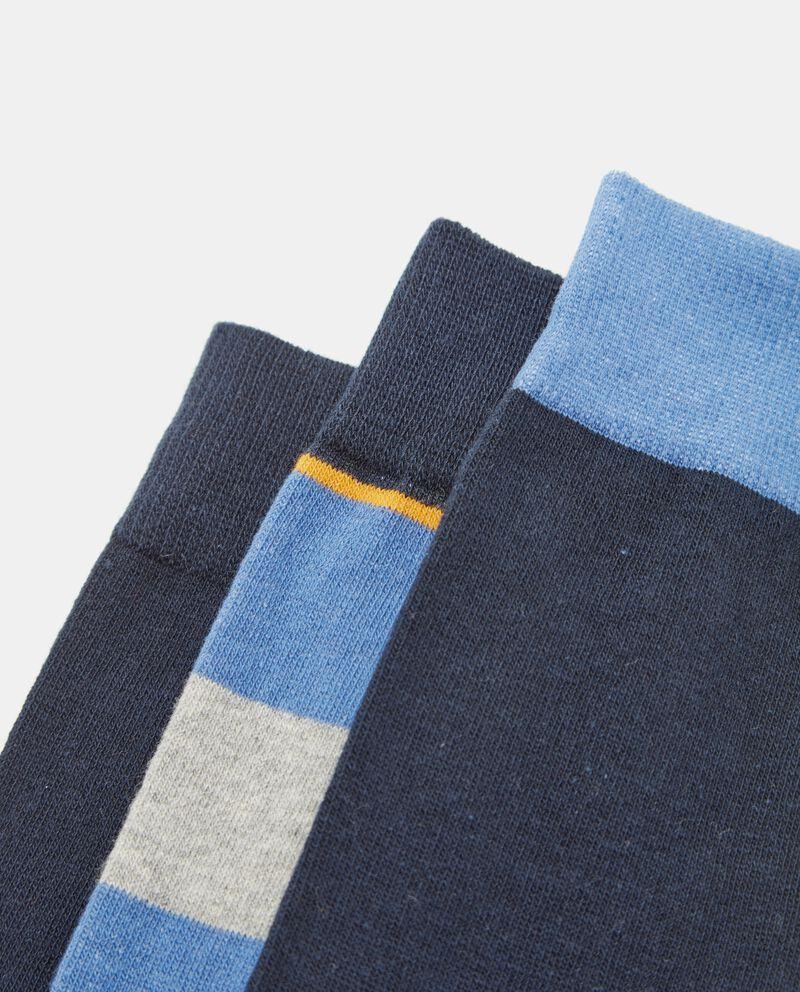 Set calzini tinta unita e motivo a righe uomo