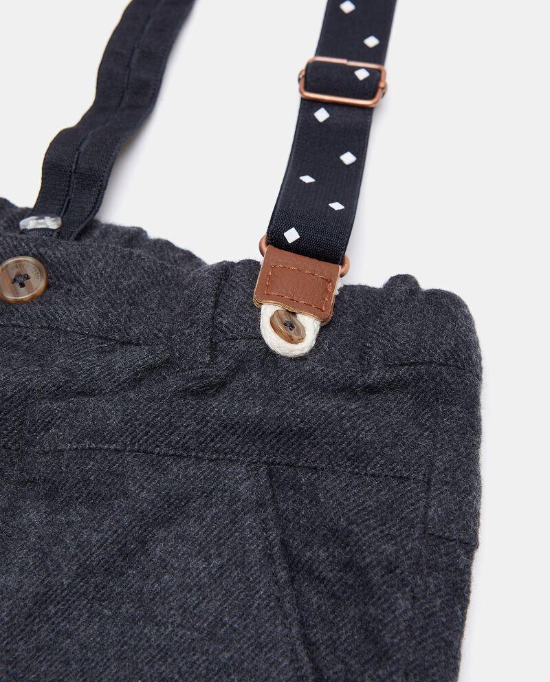 Pantaloni con bretelle in puro cotone neonato