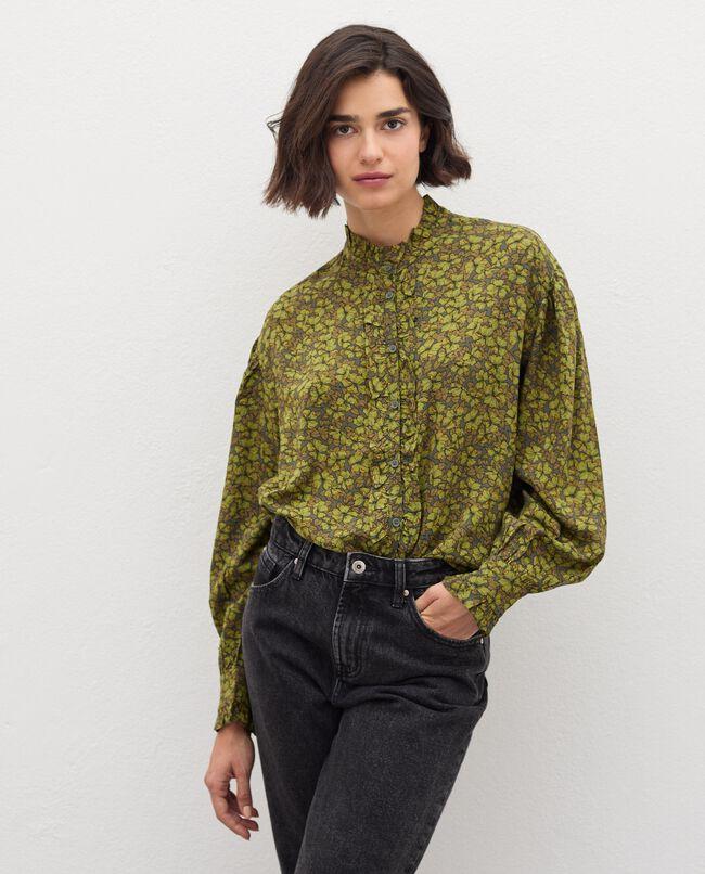 Camicia con colletto alla coreana in fantasia donna carousel 0