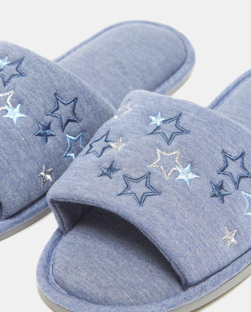 Pantofole blu con stelle ricamate donna