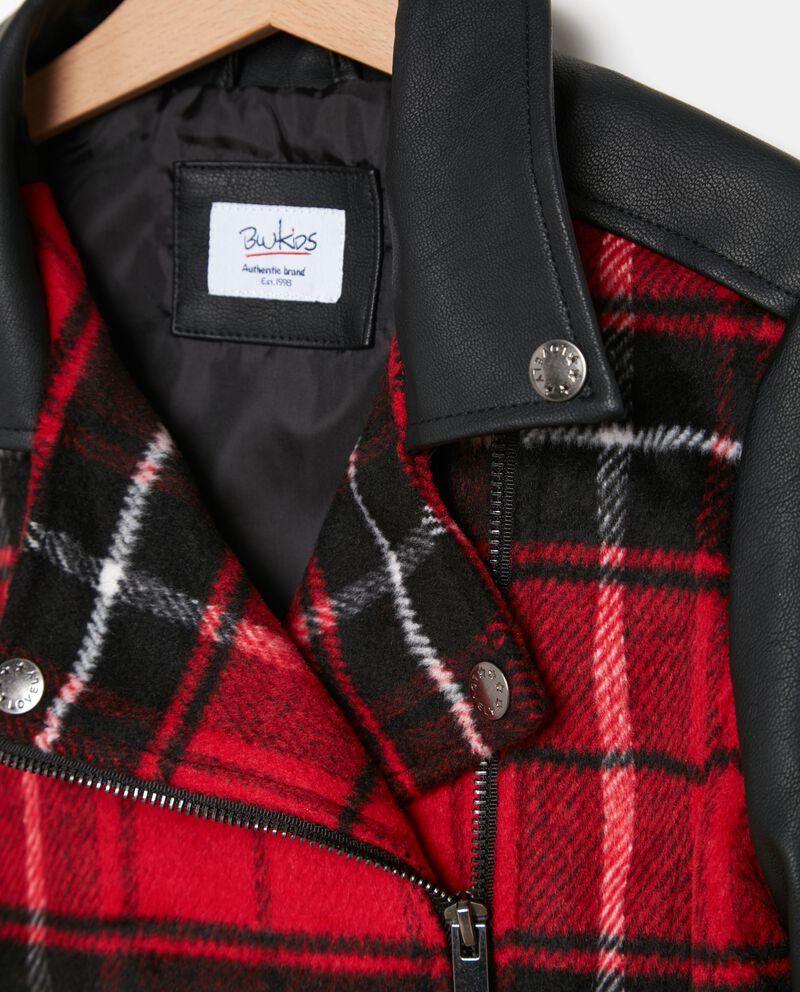 Giacca in similpelle tartan ragazza