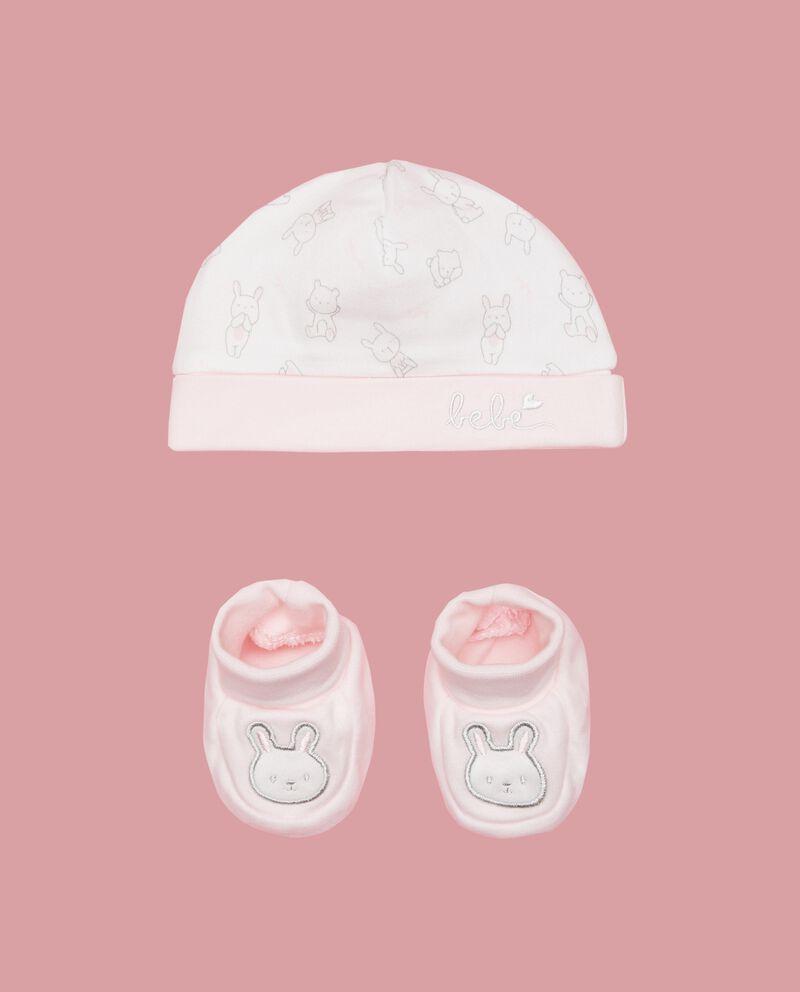 Set puro cotone scarpette e berrettino neonata