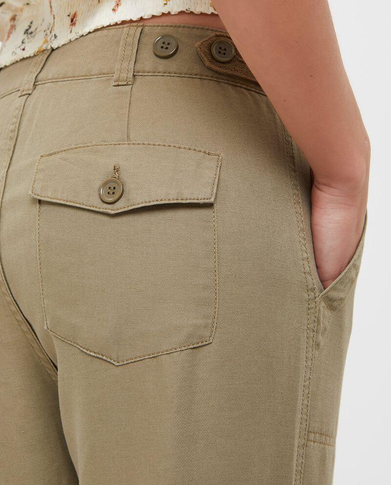 Pantaloni in cotone misto lino tinta unita donna