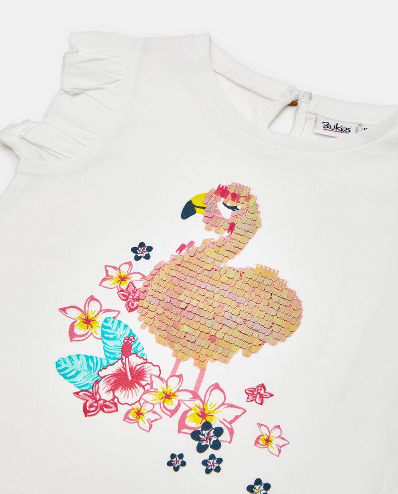 T-shirt in puro cotone con stampa in paillettes