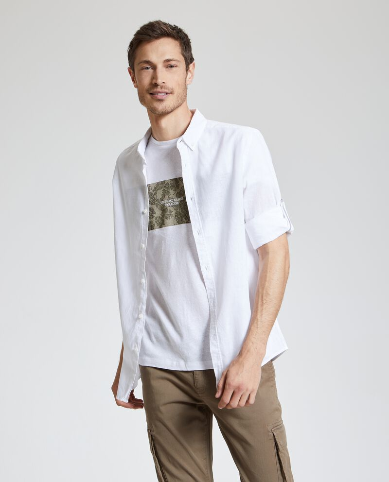 Camicia in lino misto cotone uomo