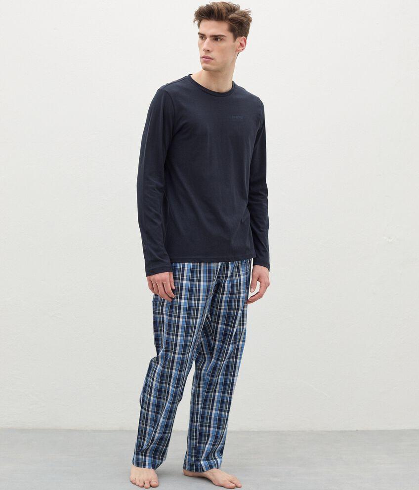 Pantaloni del pigiama con motivo a quadri in cotone uomo double 1