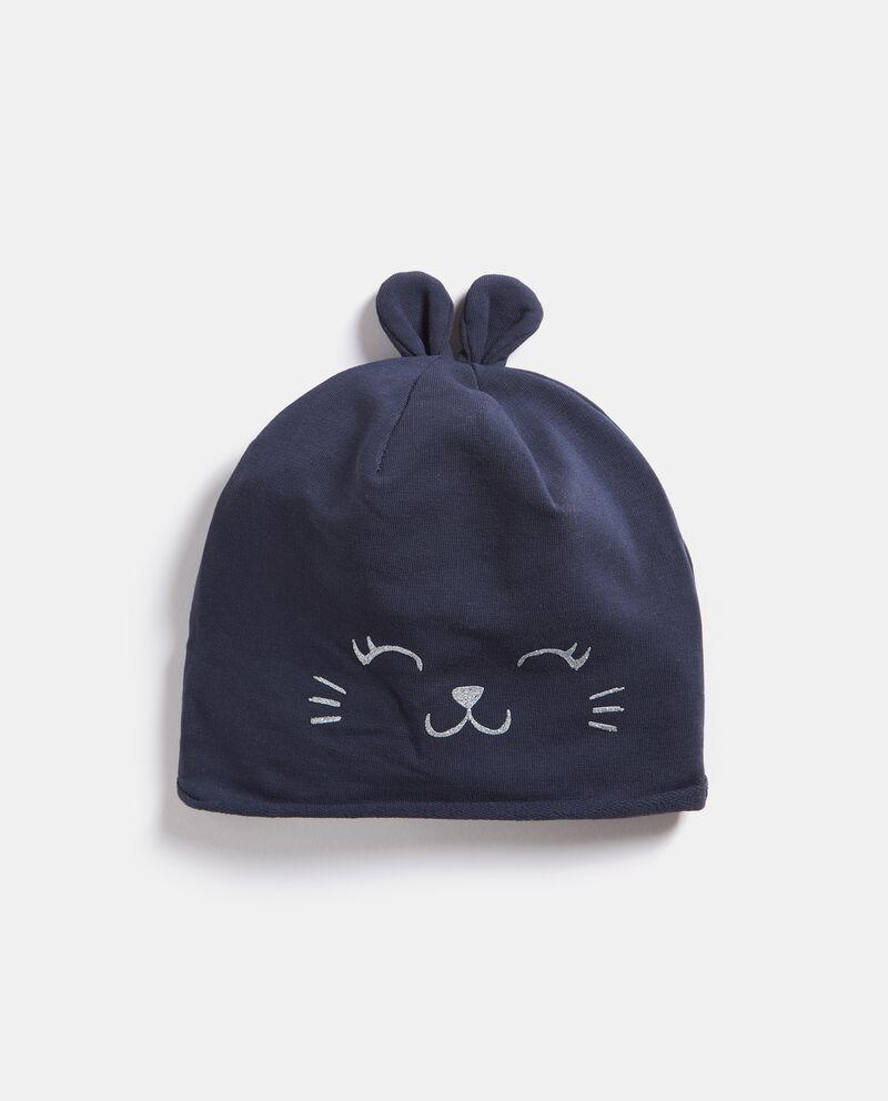 Cappellino con orecchie e stampa neonata