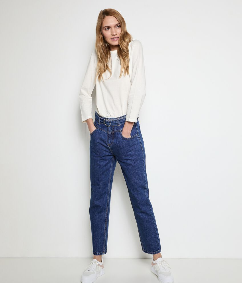 Jeans mom fit in puro cotone donna double 1