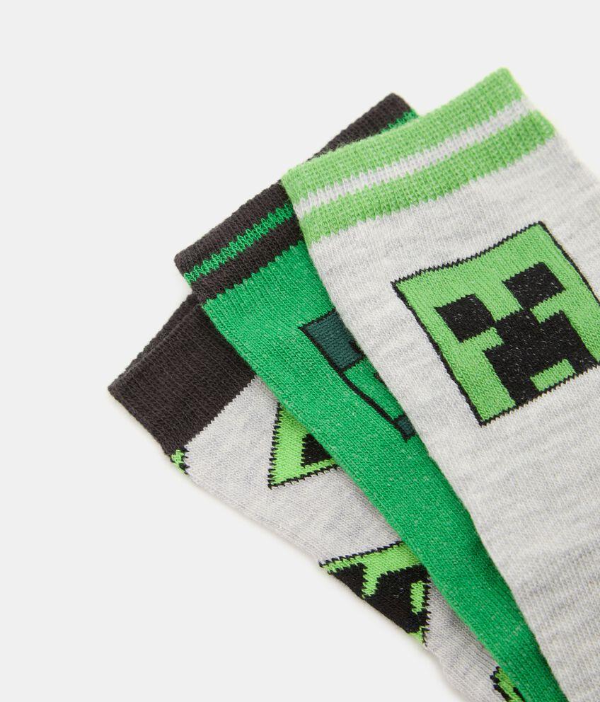 Pack con 3 paia di calzini cotone organico stampa Minecraft bambino double 2