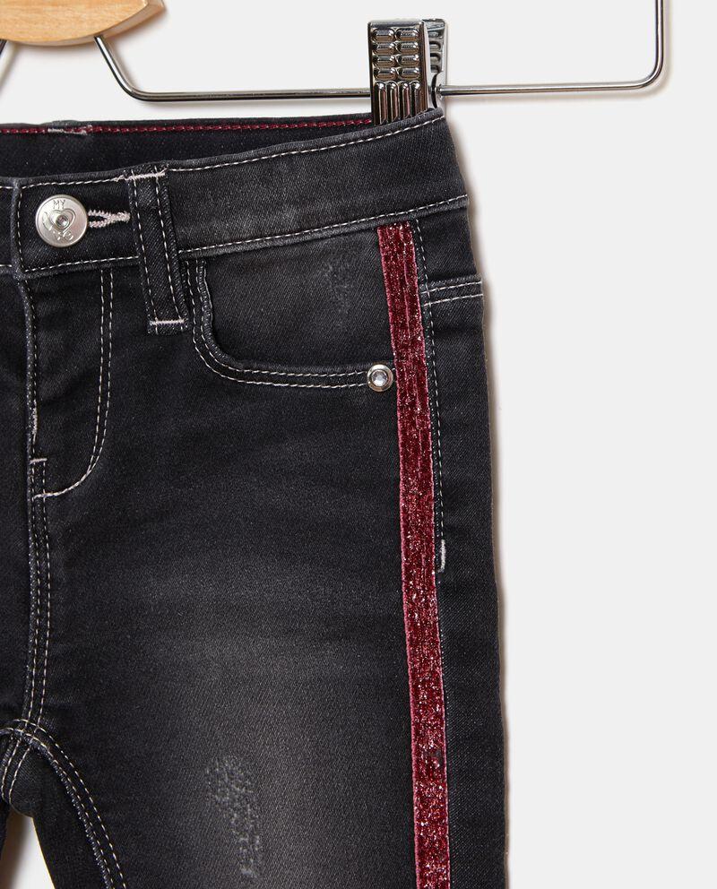 Jeans con bande in glitter neonata