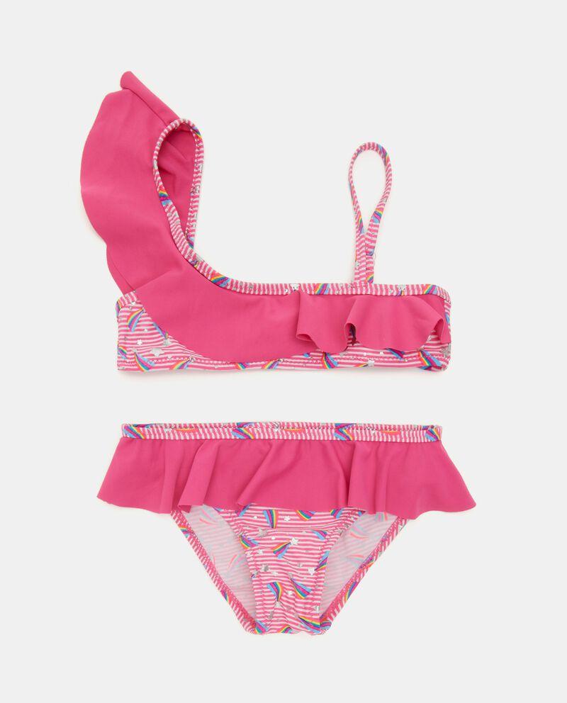 Costume bikini con motivo a righe e arcobaleni bambina