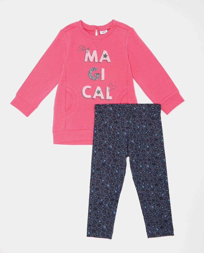 Set jogging felpa e leggings animalier neonata