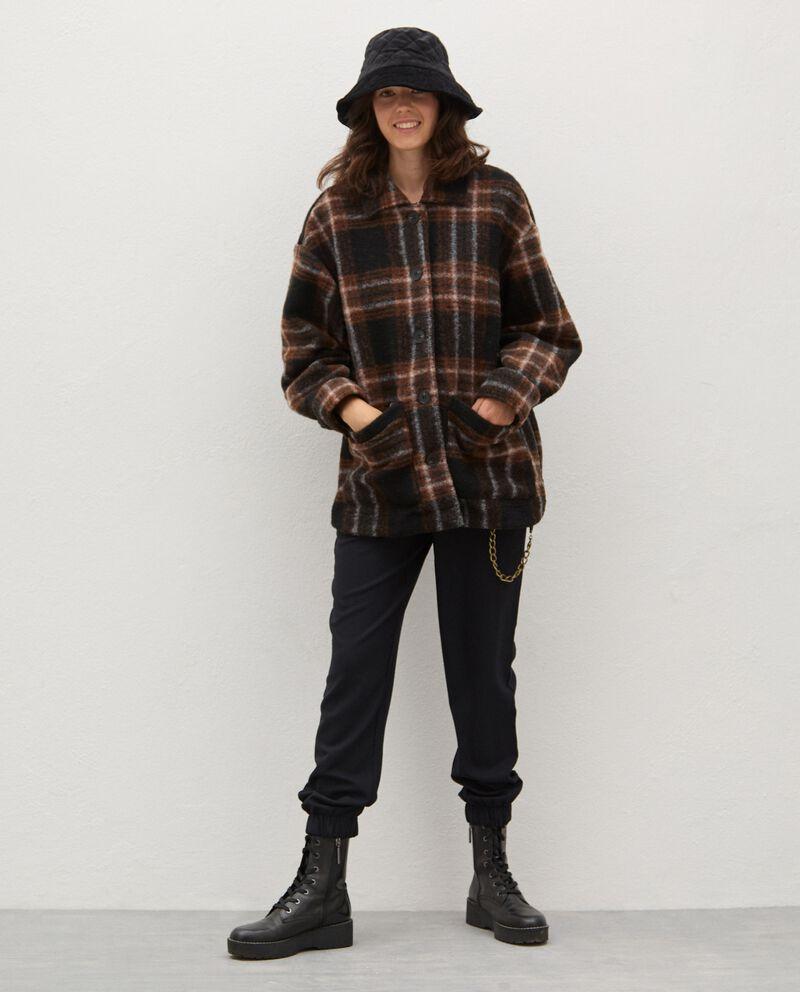 Cappotto in misto lana a quadri donna cover