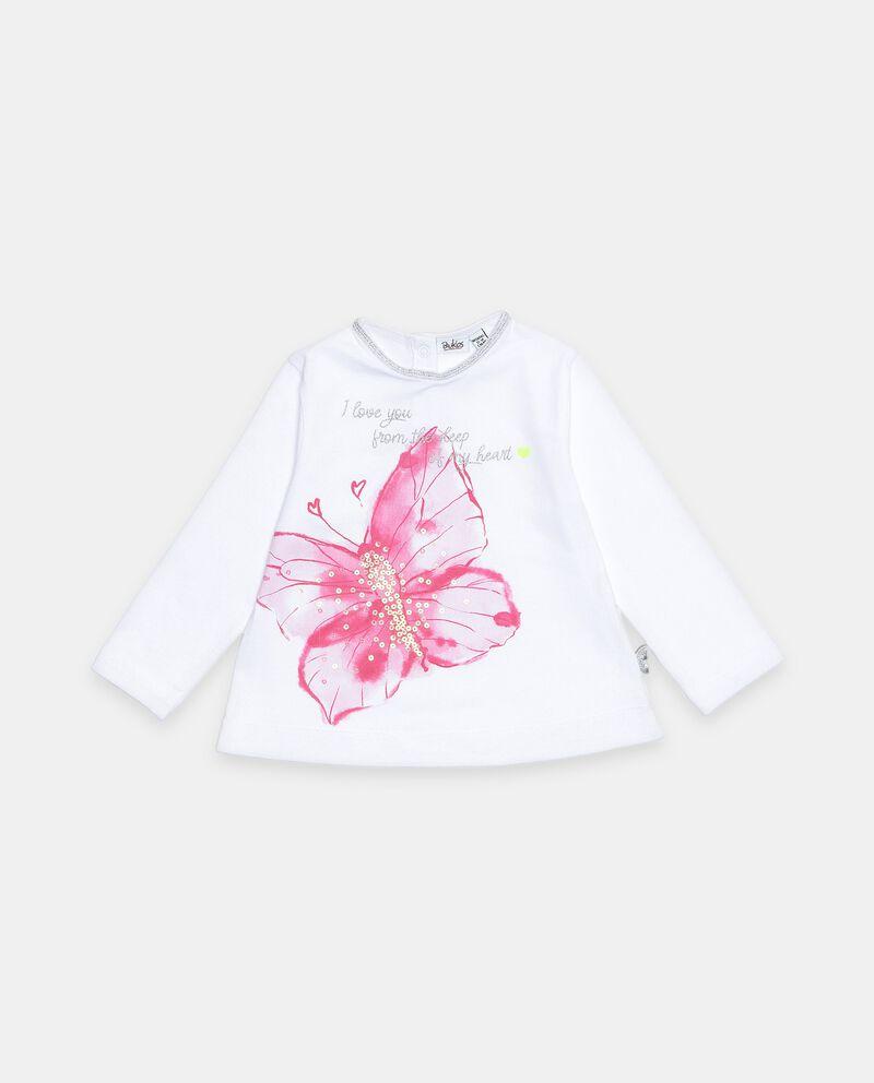 Maglia con farfalla in cotone elasticato neonata