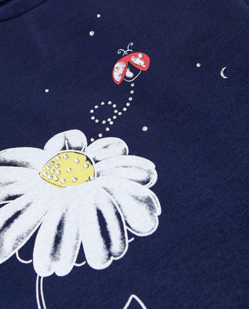 T-shirt in cotone organico stretch con strass neonata