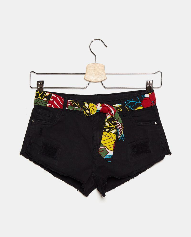 Shorts denim in cotone stretch con strappi ragazza cover