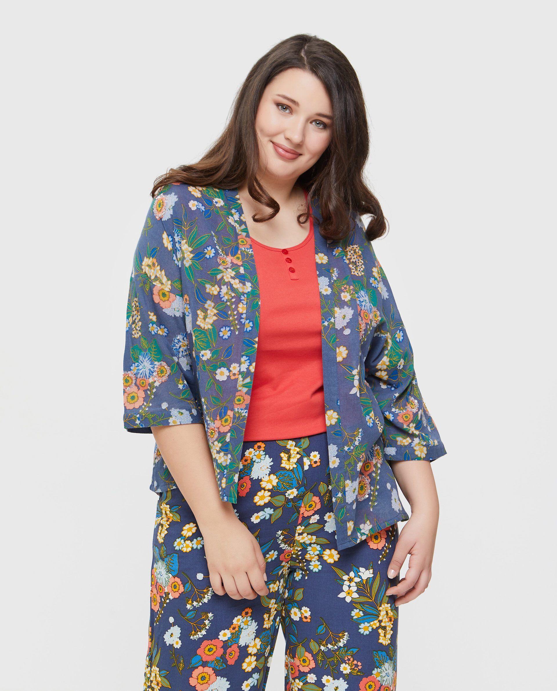 Kimono in puro cotone con fantasia floreale Curvy donna