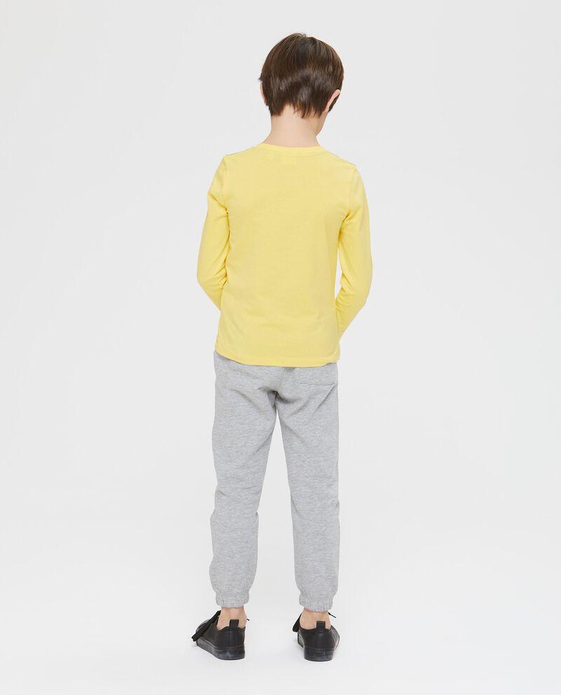 Felpa Jogging puro cotone girocollo gialla