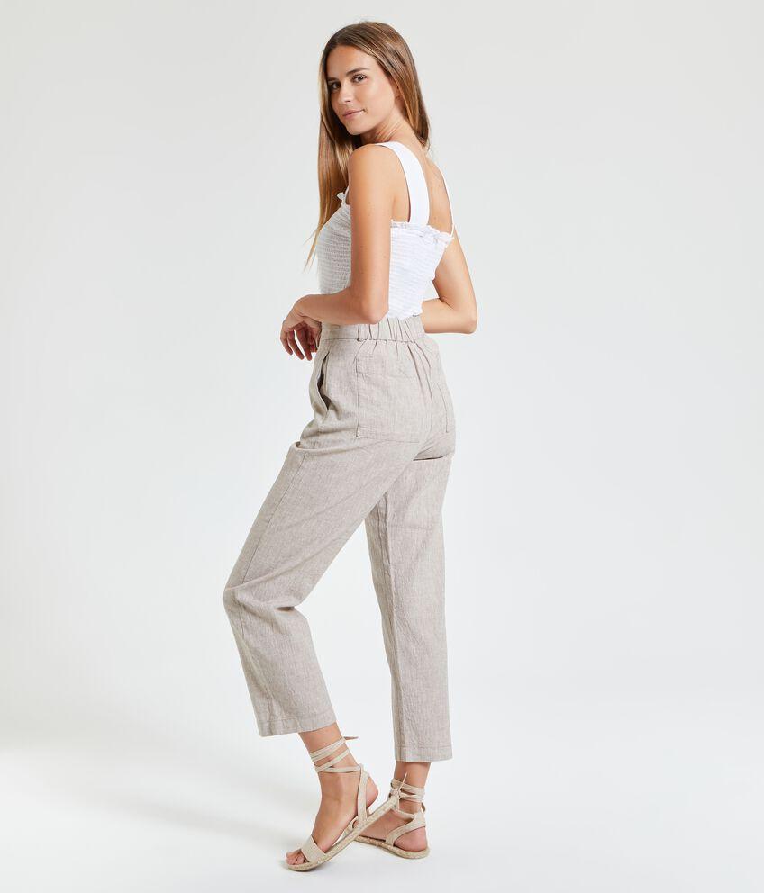 Pantaloni in lino misto cotone donna